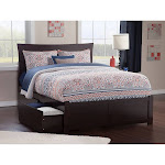Metro Full Platform Bed with Flat Panel Foot Board and 2 Urban Bed Drawers in Espresso