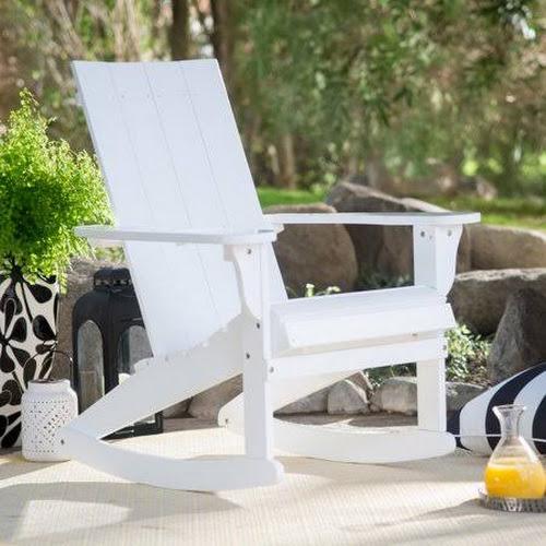 Belham Living Portside Modern Adirondack Rocking Chair White