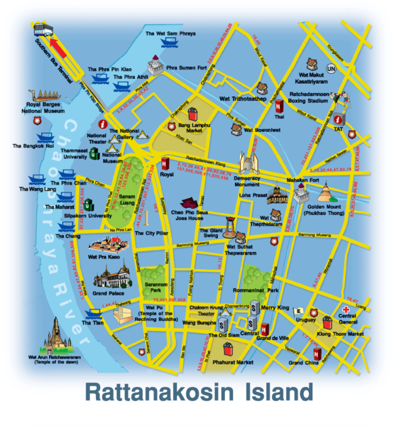 Location Map of Rattanakosin island Bangkok Thailand,Rattanakosin island Bangkok Location Map,Rattanakosin island Bangkok Accommodation Destinations Attractions Hotels Map,The Grand Palace Wat Phra Kaew Wat Arun Wat Pho Wat Ratchapradit Wat Ratchabophit Wat Intharawihan Wat Thep Thida Ram Wat Ratchanaddaram Wat Suthat and the Giant Swing Wat Saket and the Golden Mount location map
