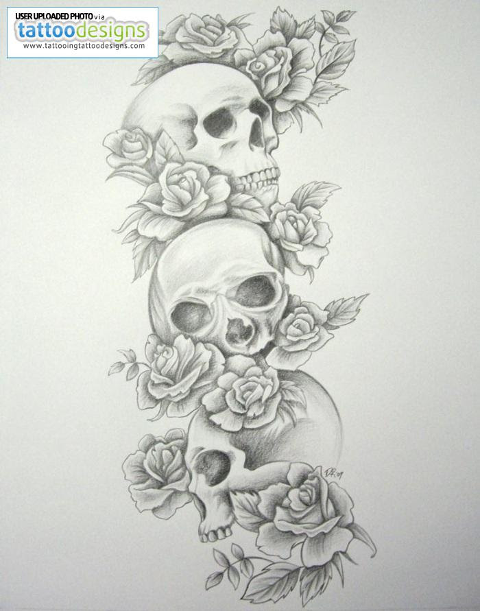 Skull And Rose Flowers Tattoo On Leg