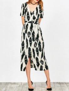 Feather Print Wrap Maxi Dress - White M