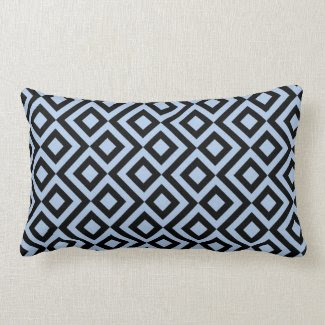 Light Blue And Black Meander Throw Pillow