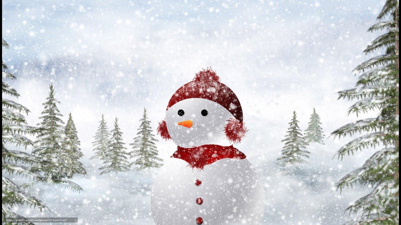 壁紙をダウンロード 雪だるま 冬 雪 木 デスクトップの解像度のため