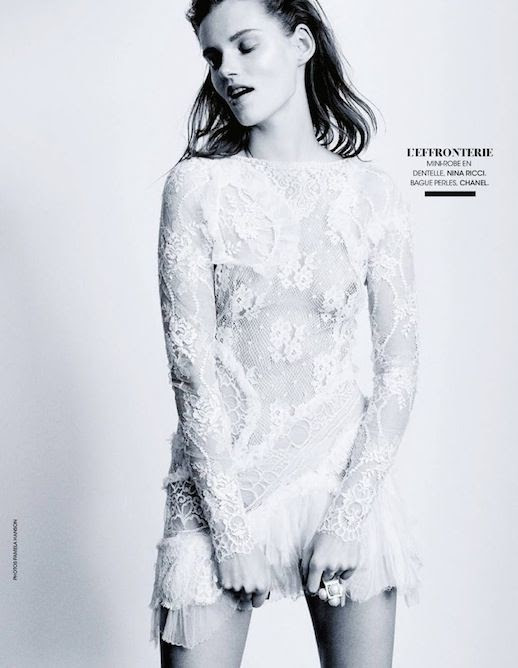 Le Fashion Blog Editorial Lace And Embroidered Goodness Madame Figaro France Belle D'Ajours March 2014 White Long Sleeve Nina Ricci Mini Dress Ruffle Hem Chanel Pearl Ring 2 photo Le-Fashion-Blog-Editorial-Lace-And-Embroidered-Goodness-Madame-Figaro-France-Belle-DAjours-March-2014-2.jpg