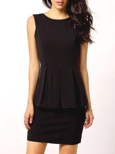 Black Sleeveless Backless Peplum Dress pictures