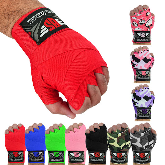 Details about Hand Wraps Bandages Fist Boxing Inner Gloves Muay Thai MMA Cotton 4.5m Long