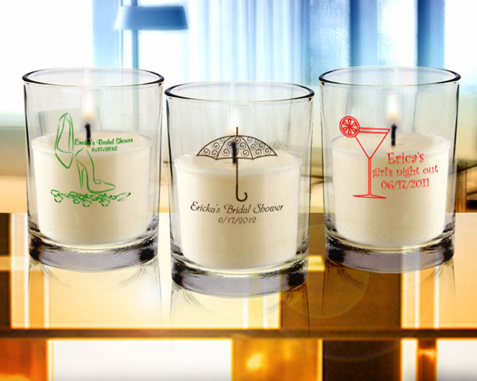 Bridal Shower Personalized Clear Candle Favors
