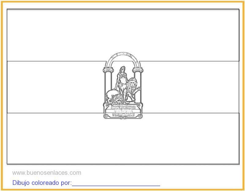 Dibujo De Bandera De Andalucía Para Colorear E Imprimir