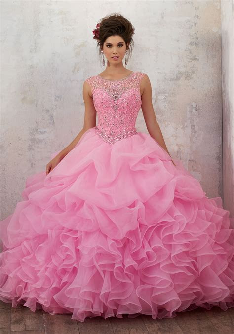 Jeweled Beading on a Ruffled Organza Ballgown   Style