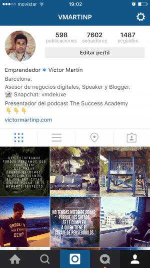 Ejemplo de cómo promociono Snapchat en mi perfil de Instagram