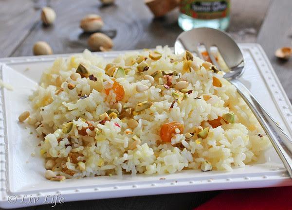 Saffron Rice, Golden Raisins, Pistacios, An Edible Mosaic