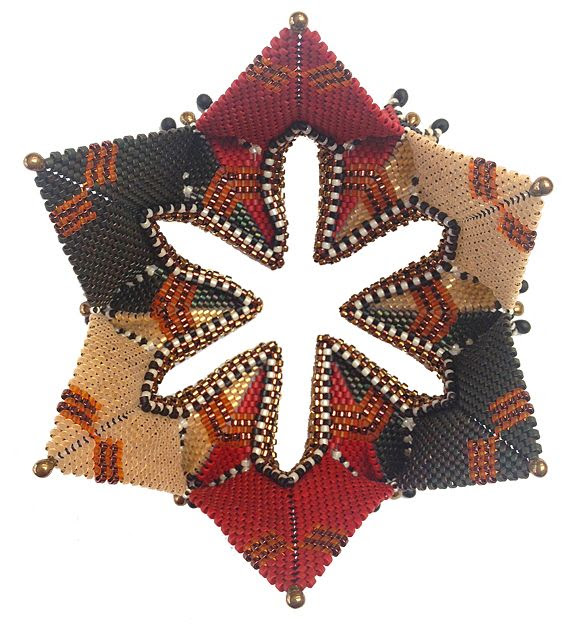 Rayo Boursier beadwork- Fortuneteller, Chris Vandervlist pattern, Contemporary Geometric Beadwork, Kate McKinnon, 2012