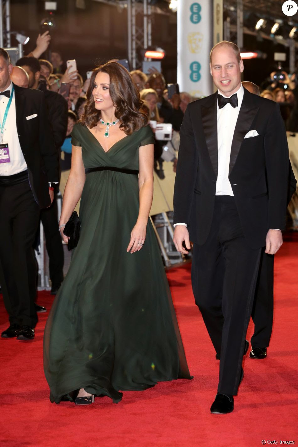 Kate Middleton chega ao Bafta 2018 com o marido, Príncipe William