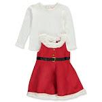 Nannette Girls' Holiday Corduroy 2-Piece Jumper Dress Set - red/multi