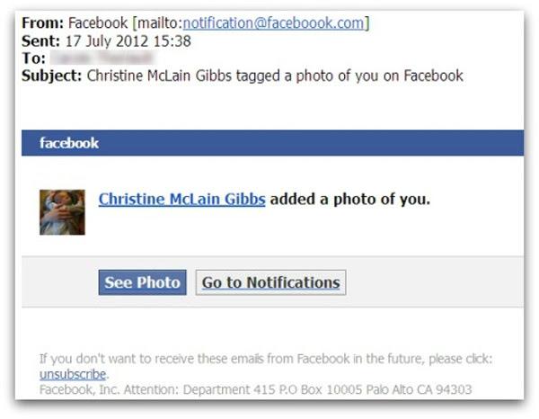 Mensagens de emails estão circulando na web com falsas notificações de fotos do Facebook (Foto: Reprodução)