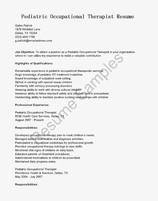 free sample pediatric occupational therapist resume with objective