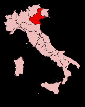 English: location of Veneto region in Italy