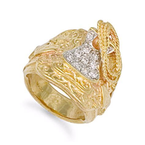 Mens solid 9ct yellow Gold CZ Saddle Ring 21 grams