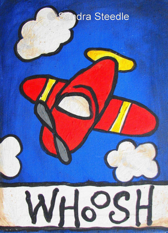 Children Decor,  RED PLANE PRINT, 8 x 10, nursery decor, kid, wall art, red,blue, colors, boy, playroom