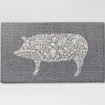 "Threshold Kitchen Rug Pig, Animal Icon, Gray, 20"" x 34"""