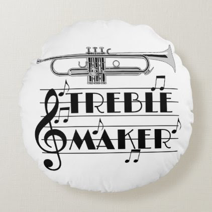 Trumpet Player Treble Maker Round Pillow