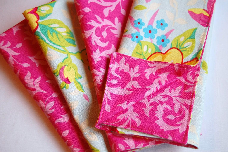 REVERSIBLE Floral Aqua Pink Fabric Napkins, Heather Bailey Pop Garden, Eco Friendly Cloth, Reusable, Set of 4, Lunch, Dinner
