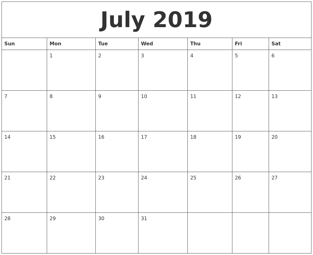 july 2019 printable calander