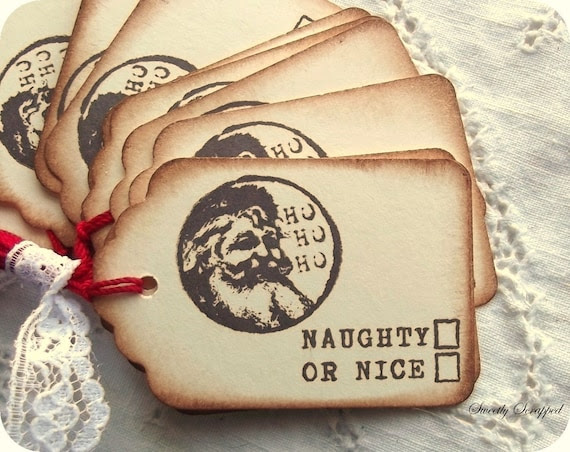 Naughty Or Nice Santa Vintage Christmas Tags