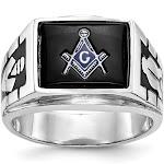 14K White Gold Men's Masonic Ring