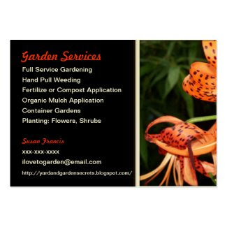 Gardener Tiger Lily Business Card