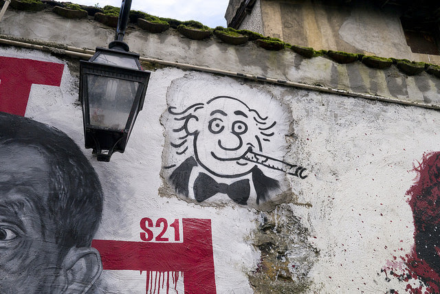 A French street portrait of cartoonist Georges Wolinski, one of the Charlie Hebdo staff members killed in January, 2015.