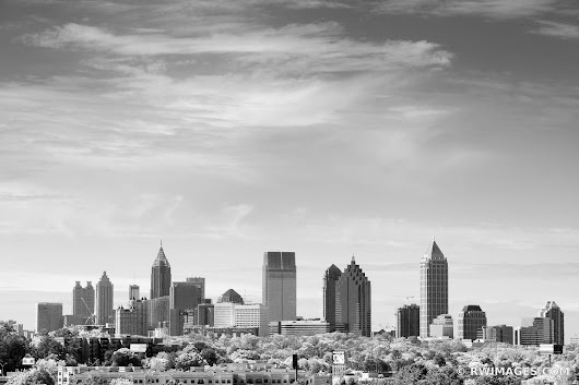 Photo Print of DOWNTOWN ATLANTA SKYLINE BLACK AND WHITE Print Framed Picture Fine Art Photography Large Print Wall Decor Art For Sale Stock Image Photo Photograph High Resolution Digital Download Aluminum Metal Acrylic Canvas Framed Photo Print Buy Photo by Robert Wojtowicz Fine Art Photographer