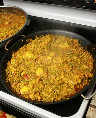 The paella is almost ready!