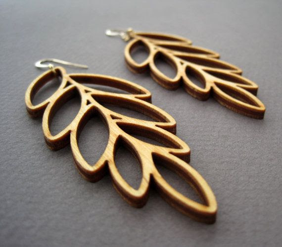 Laser Cut Wood Leaf Earrings / Boho Earrings / Modern Jewelry by ShopJoyo, $45.00 #lasercut