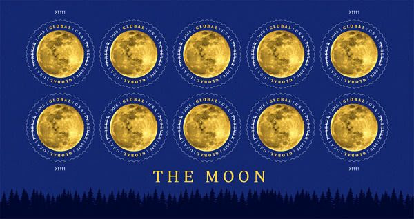 New U.S. Postal Service stamps featuring our Moon.