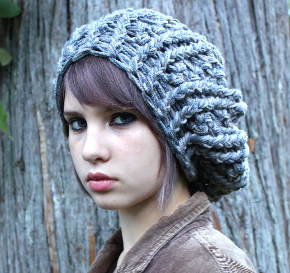 oversized beret slouch hat boho Grey