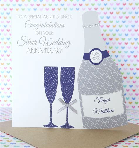 Personalised Handmade Silver/25th Wedding Anniversary Card