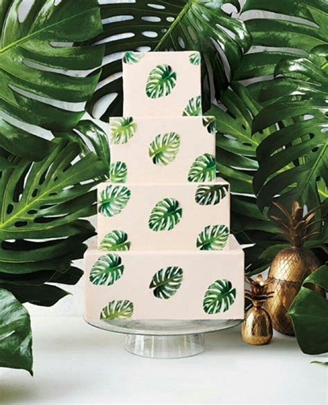 Pale Peach Cake with Monstera Leaf Pattern   Brides