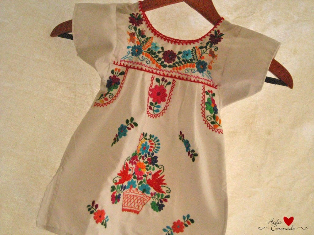 Beautiful handmade Mexican embroidered tunic dress child size 2 color white
