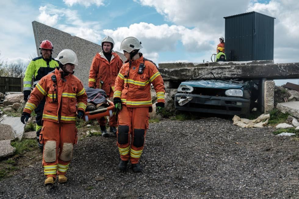 Simulacro de emergencia del Mecanismo de Protección Civil Europea en Revingeby (Suecia).