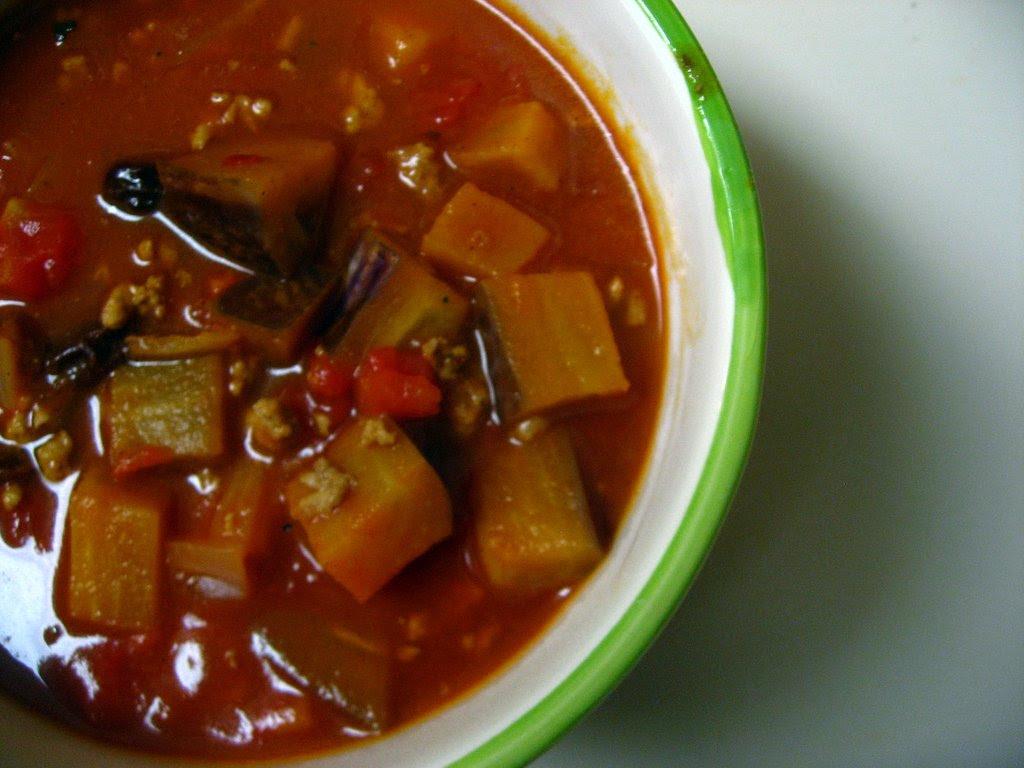 picadillo and eggplant soup