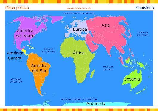 Cuales Son Los 6 Continentes Del Planisferio: Continentes