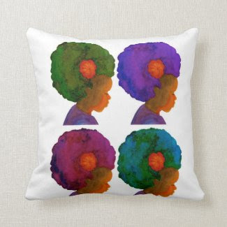 Colors of Life 4 Silhouette Girls with Afro Pillow