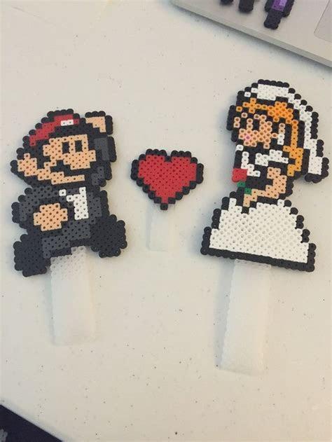 Mario and Princess Peach Wedding Cake Topper perler beads