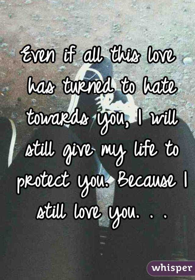 Even If All This Love Has Turned To Hate Towards You I Will Still