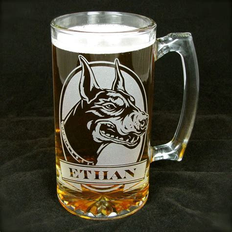 1 Personalized Doberman Beer Mug, Etched Glass Beer Stein