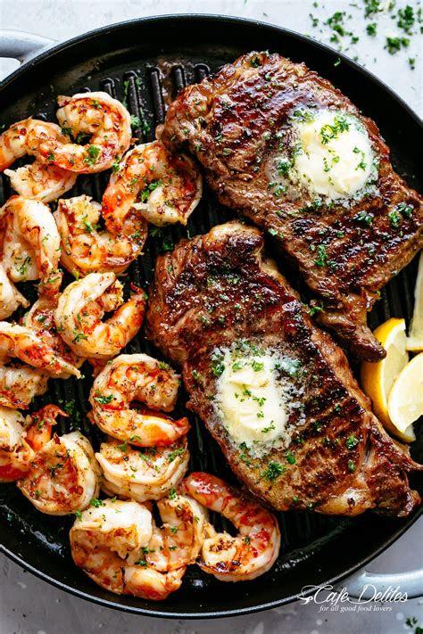 grilled steak shrimp slathered  garlic butter