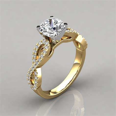 Infinity Design Cushion Cut Engagement Ring   PureGemsJewels