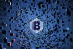 Blockchain logo at the center of an influx of floating cubes of digital technology