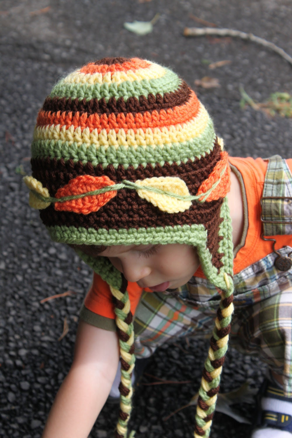 Colorful Crocheted Fall / Winter Hat with Autumn Leaves for Boy and Girl- Newborn - 5 T- Made To Order - LenasBoutique